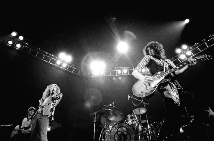 L to R John Paul Jones, Robert Plant, John Bonham, Jimmy Page, 1975, location unknown