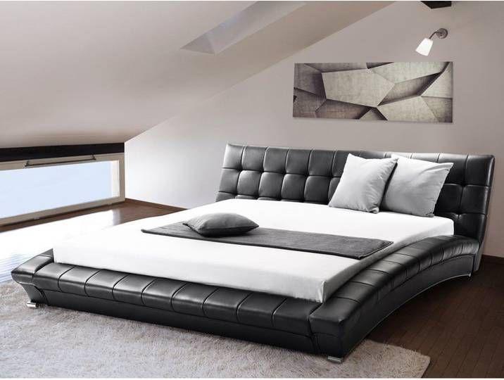 Lederbett Schwarz Lattenrost 180 X 200 Cm Lille In 2020 Super King Size Bed Upholstered Bed Frame Leather Bed