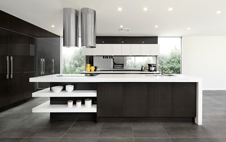 We love the contrast in this functional and family friendly kitchen