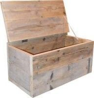 Stoere steigerhouten kist om zelf te maken, gratis dekenkist doe het zelf handleiding en bouwtekeningen. Maak zelf een opbergkist voor speelgoed op wielen