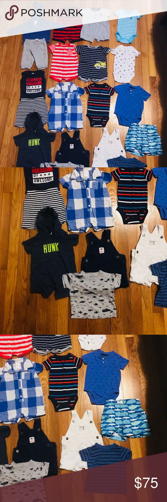 Baby boys 6 month lot! 19 pieces! Mostly carters  Hooded sweatshirt with matching sweat pants  4 button down rompers  4 onsies  2 short overalls with matching t shirts  1 hooded romper  Old navy Fourth of July Tank top onsie with matching shorts (6-12 month) Swim trunks (6-9 month) 1 plaid dress romper Carter's One Pieces #babytanktopsboy