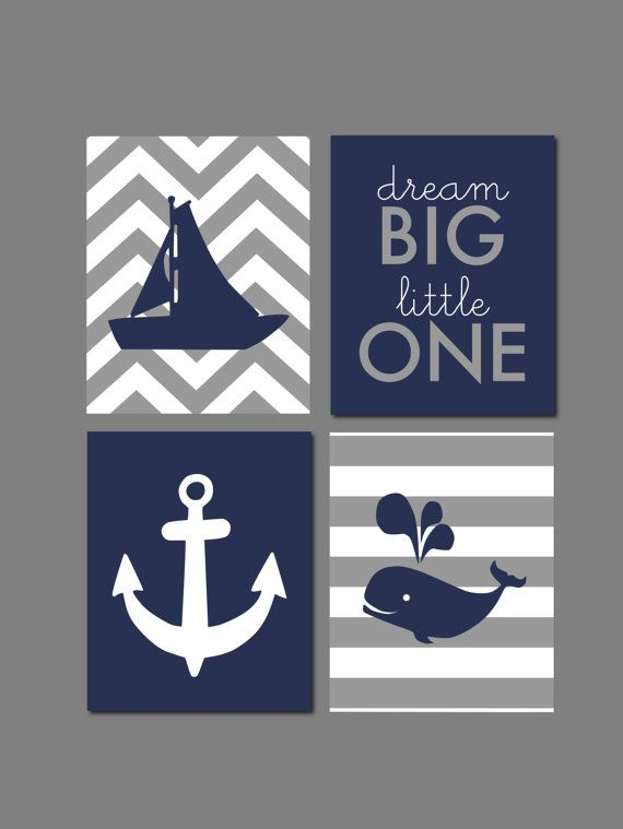 Whale Nursery Nautical Nursery Navy and Gray Dream by karimachal