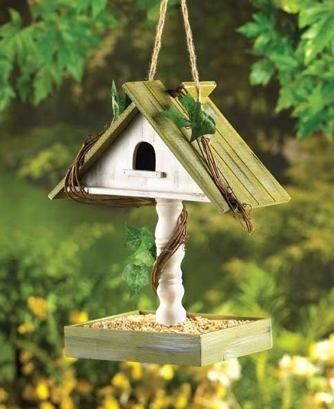 Birdhouse with Bird Seed Feeder Tray House Tabletop or Hanging  $15.00  at CritterCreekRanch