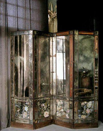 vintage mirrored screen