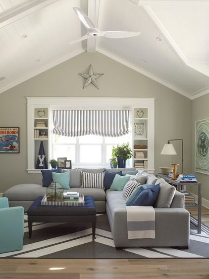 Beach Style Family Room by Flagg Coastal Homes How to Get Your Accent Pillows Right by Houzz