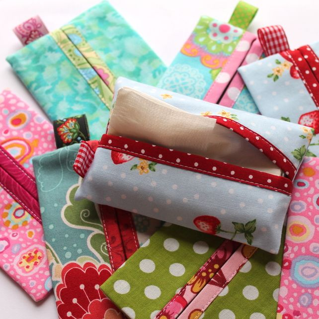 10 x Pocket tissue holders or cases - various fabrics - FREE UK P  £34.95