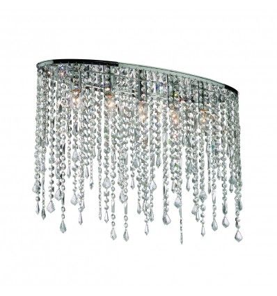 Lampadario ellittico in cristallo trasparente moderno 5 luci.