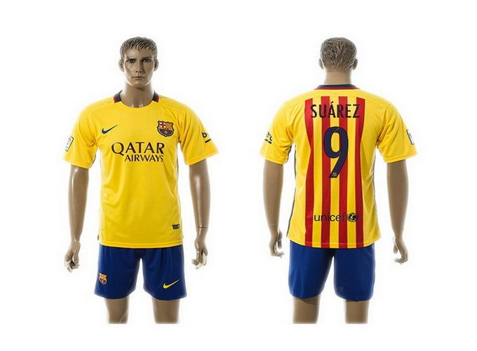 2015 2016 barcelona 9 suarez yellow away soccer jersey