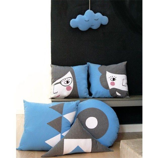 Tejidos del hogar - Cojín Cuadrado Sebastián Azul Lavanda - hecho a mano por PAPARAJOTEFACTORY en DaWanda