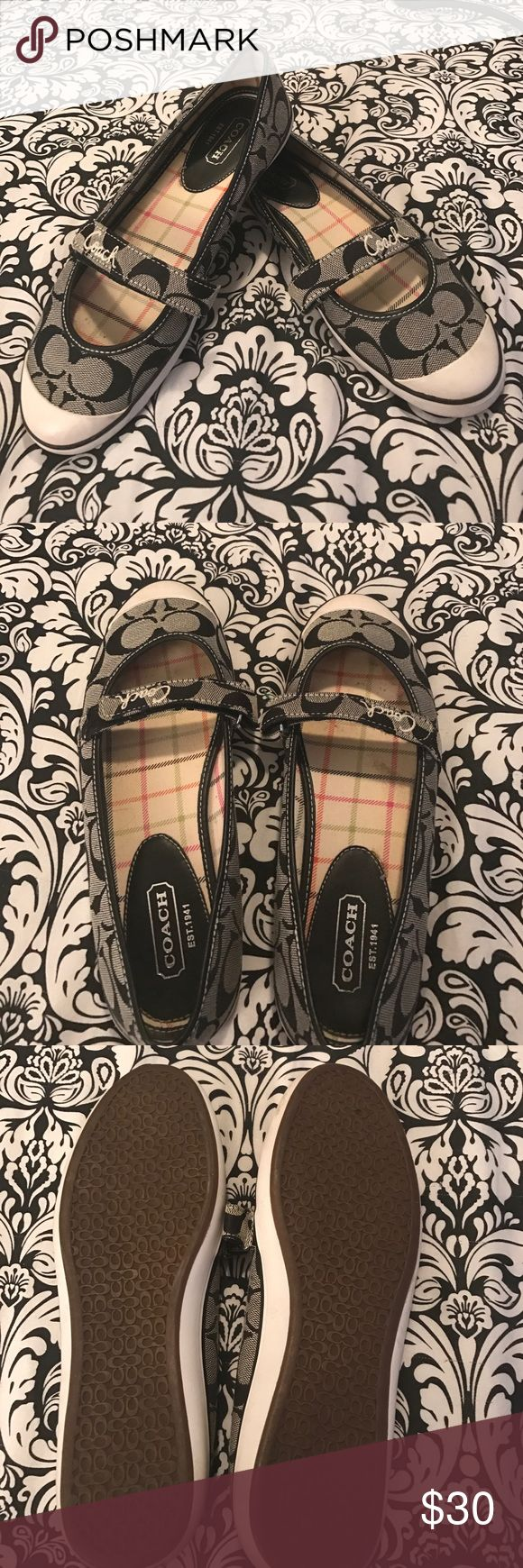 Coach signature fabric shoes Super cute Coach flats in black and grey Coach signature fabric. Some signs of wear on the rubber around the edges, shown in last pic. Coach Shoes Flats & Loafers
