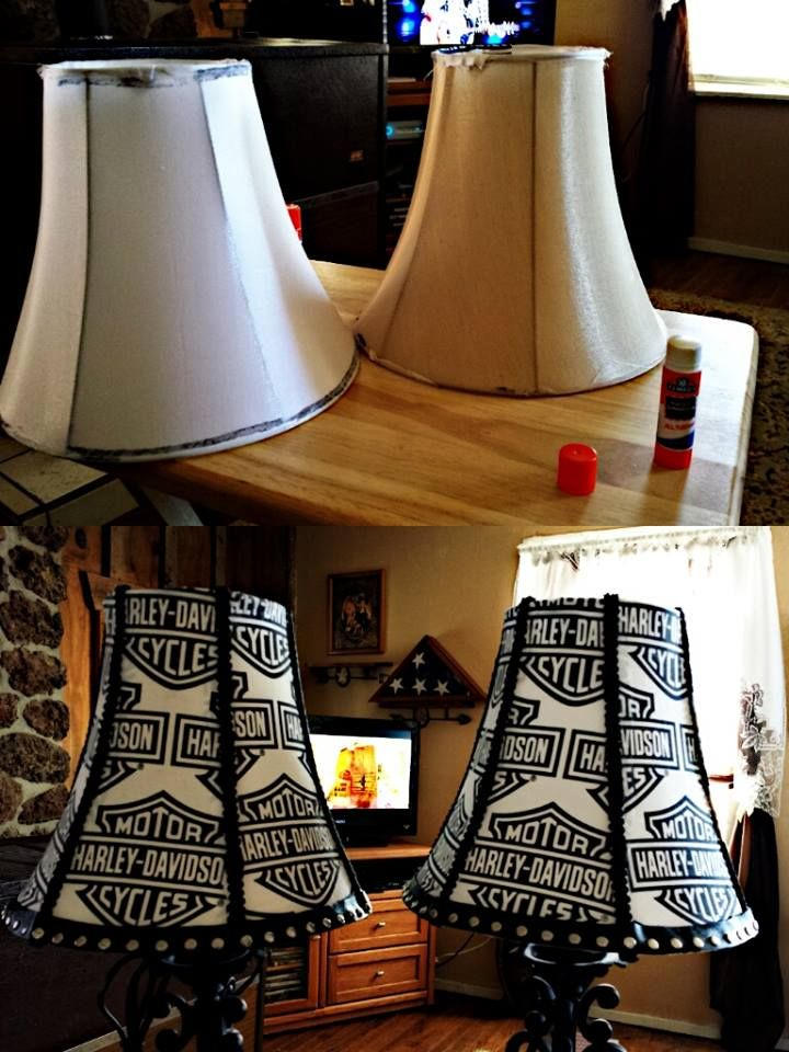 These are the Harley lamps I did for mine & Cody's bedroom a few months ago. Buy dollar store lamps. They are $12.00 a piece. I used fabric, upholstery trim, a strip of studded leather for crafts, and a few glue sticks. Very simple to make! I made a Mini Mouse lamp for my bestfriend's baby shower too! -Kendra