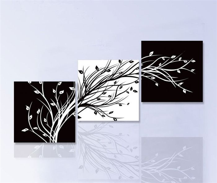 handpainted 3 piece black white modern abstract oil painting on canvas wall art…