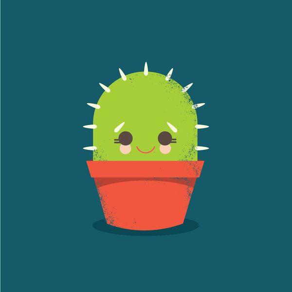 Kawaii Cactus Dude Art Print
