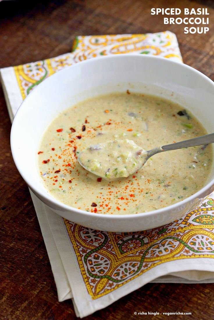 Easy Spiced Creamy Broccoli Soup. Shredded broccoli cooked with spices, basil and a creamy cashew sauce. Vegan Gluten-free Recipe.   VeganRicha.com