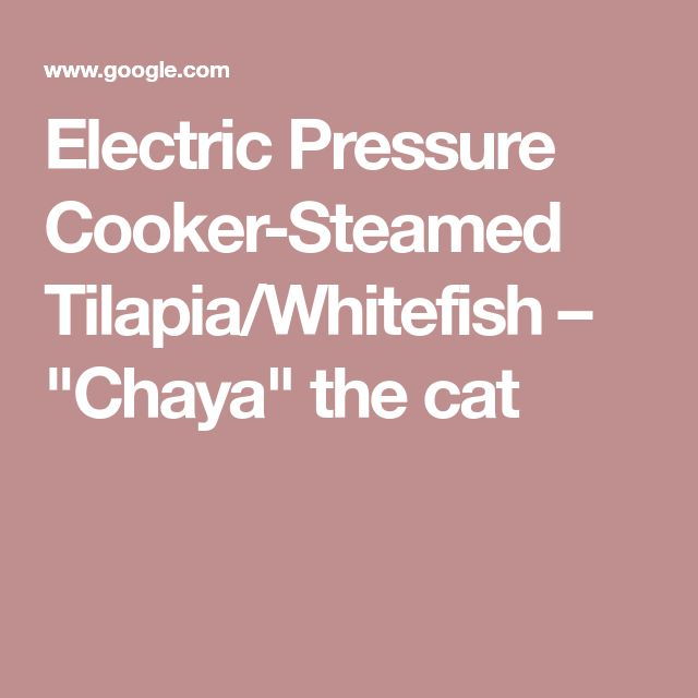"Electric Pressure Cooker-Steamed Tilapia/Whitefish – ""Chaya"" the cat"