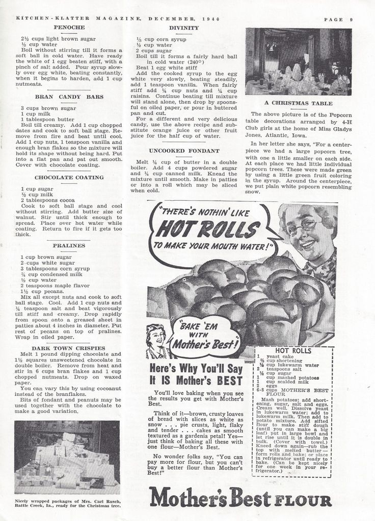 Kitchen Klatter Magazine, December 1940 - Penoche, Bran Candy Bars, Chocolate Coating, Pralines, Dark Town Crispies, Divinity, Uncooked Fondant