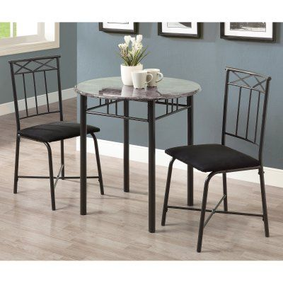 Monarch Specialties Duncan 3 Piece Round Dining Table Set  I 3065 Gorgeous 3 Piece Kitchen Table Set Decorating Design