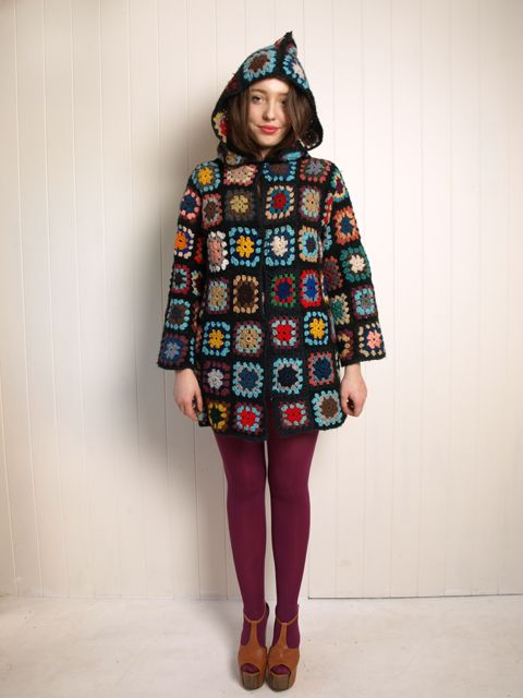 custom made crocheted granny square wool hooded jacket cardigan coat