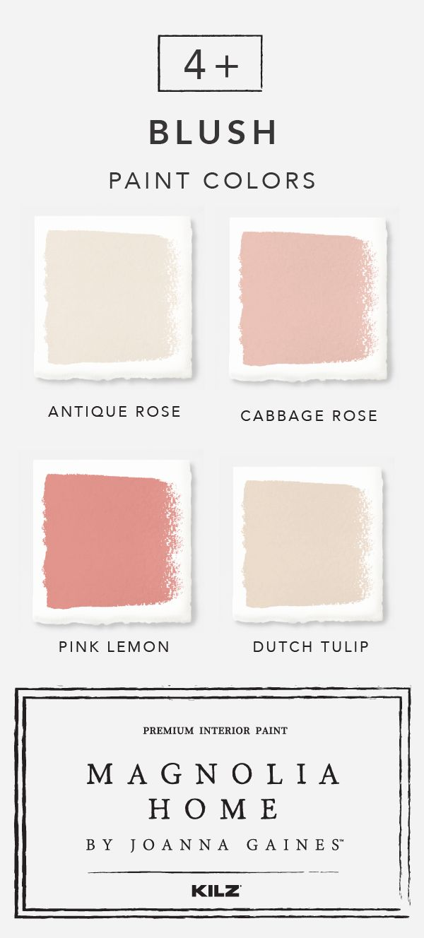 Get on board with the blush paint trend thanks to this color palette from the Magnolia Home by Joanna Gaines™ paint collection. Neutral shades like Antique Rose and Dutch Tulip add subtle pops of color to your interior design while darker hues like Cabbage Rose and Pink Lemon function well as stylish accent colors.