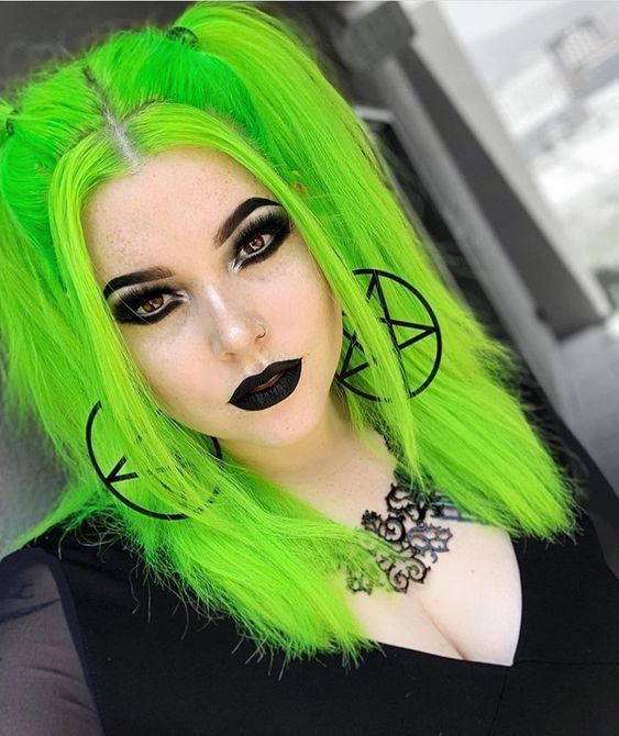 85 Fabulous Green Hair Style For You In 2020 Neon Hair Color Neon Hair Green Hair