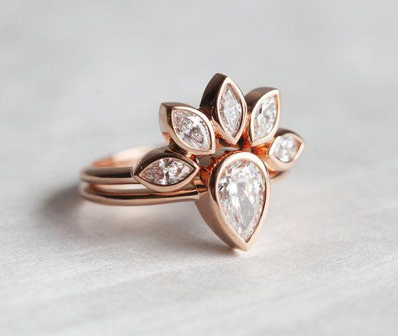 Diamond Engagement Ring Set Pear Diamond Ring with by MinimalVS                                                                                                                                                                                 More