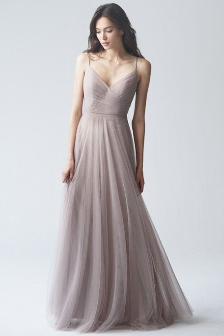 Elegant Tulle Bridesmaids Dress, Brielle in Mink Grey by Jenny Yoo. Perfect for a spring, summer, or fall wedding. Whimsical, classic, youthful, and timeless dress with a v neck line and spaghetti straps.