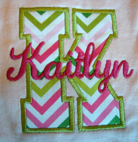 Girls monogrammed shirt chevron initial with name