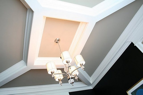 great ceiling treatment. lovely in a small space, like a master bath or master W.I.C.