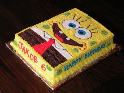 spongebob cake..SO EASY! For my Grandson's Birthday !
