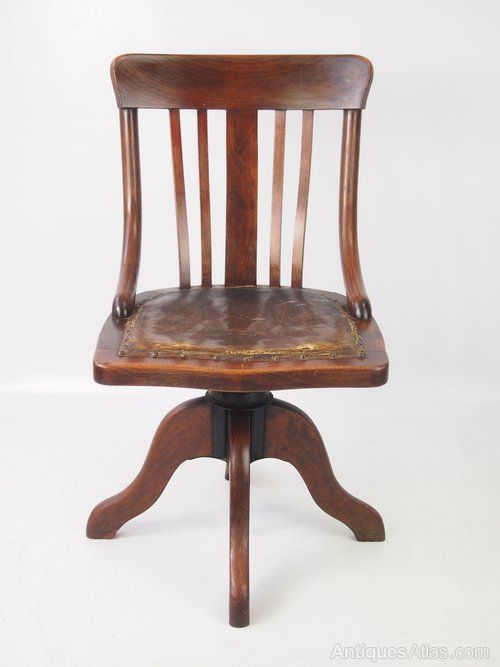 Antique Swivel and Revolving Chairs, Small Antique Edwardian Swivel Desk  Chair. A stylish small antique Edwardian swivel chair in beech. - Antique Swivel And Revolving Chairs, Small Antique Edwardian Swivel