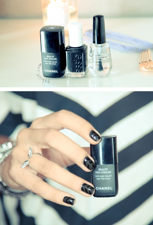matte + glossy chevron - nailart chevron nails black matte
