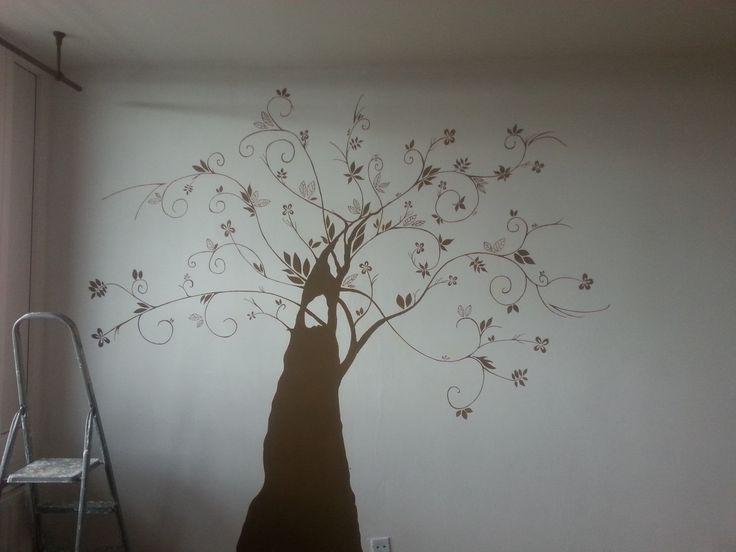 Ruční malba strom obývací pokoj