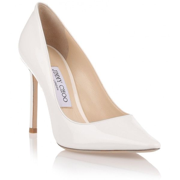 Jimmy Choo Romy 100 Patent Chalk Pump (13 650 UAH) ❤ liked on Polyvore featuring shoes, pumps, white, pointed toe pumps, patent pumps, patent leather shoes, high heel shoes and white patent leather pumps