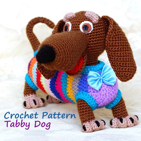 (CROCHET PATTERN) Its so bright! Many strips! And many positive! This is dachshund! This would be a wonderful souvenir dog, created with