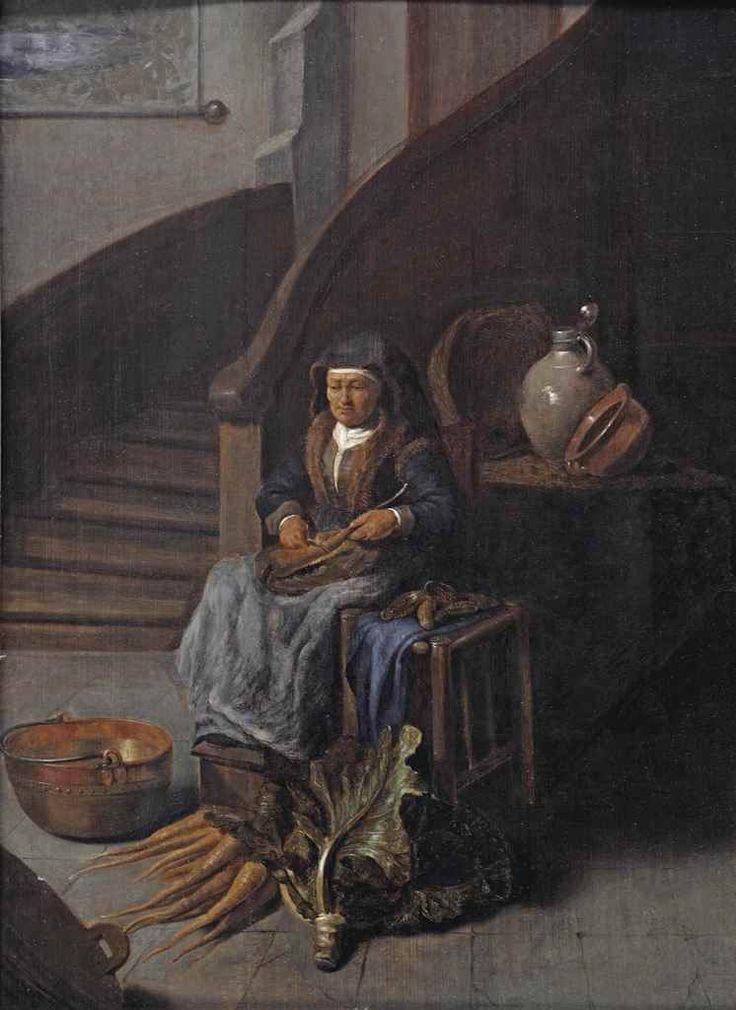 Omgeving van Gerrit Dou: Een oude vrouw maakt wortelen schoon in een interieur. ca. 1650 - 1699. Christie's Amsterdam. Vroeger toegeschreven aan Quiringh van Brekelenkam en Jacob van Spreeuwen.