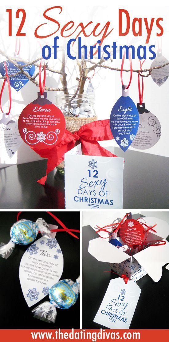 A sexy twist on the 12 Days of Christmas. Finally a DIY gift I KNOW the hubby will LOOVE! Includes a FREE download with flirty poems on printable ornaments and everything!