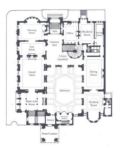 "Cornelius Vanderbilt II Residence | 1 West 57th Street, New York City (on the Grand Army Plaza south). First Floor plans as designed by George B. Post and Richard Morris Hunt feature primarily ""public rooms"" including the Ballroom."