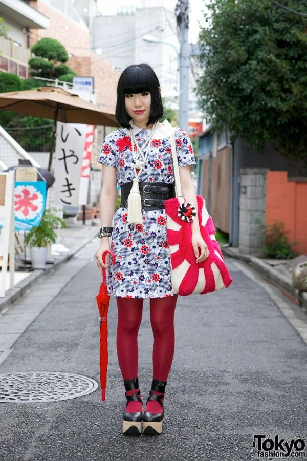 Harajuku, sokak modası, tokyo street style, red, kırmızı, punk lolita, gothic lolita,