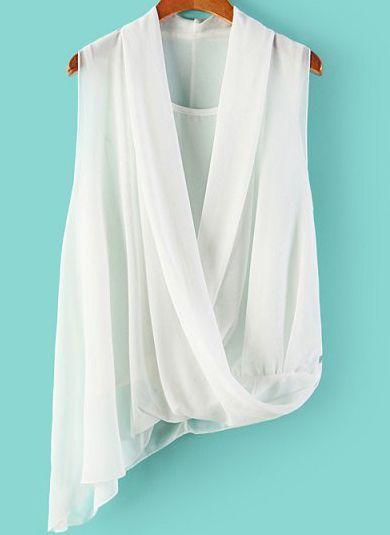White V Neck Sleeveless Asymmetrical Chiffon Blouse 14.08