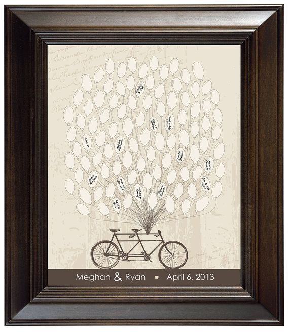 Unique Wedding Guest Book Personalized Wedding Gift Modern Wedding Guestbook Alternative Tandem Bicycle with balloons wedding keepsake