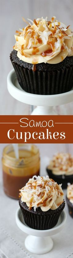 So INCREDIBLY good!! These Samoa cookie inspired cupcakes are chocolate cupcakes topped with salted caramel buttercream and toasted coconut!