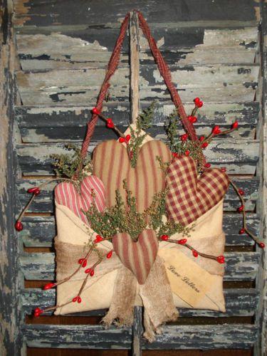 Primitive * Valentine * heart * envelope love letter * sweet annie
