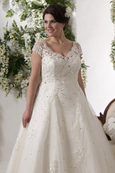 Sexy A Line Court Train Straps Tulle Fabric Plus Size Wedding Dresses With Beading Style