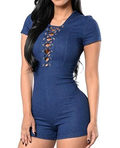 8cddcaf0a45 SYTX-women clothes SYTX Womens Skinny Fit Short Sleeve Bandage Denim Shorts Jumpsuit  Romper