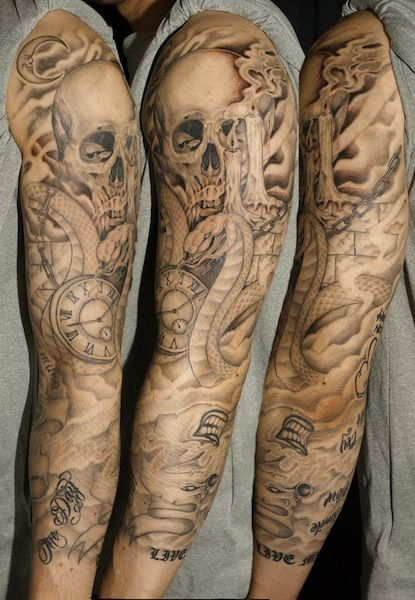 Skull/Candle/Snake/Clock/Two Face Tattoo ドクロ/スカル/ヘビ/蛇/ロウソク/時計/ツーフェイスのタトゥー/刺青
