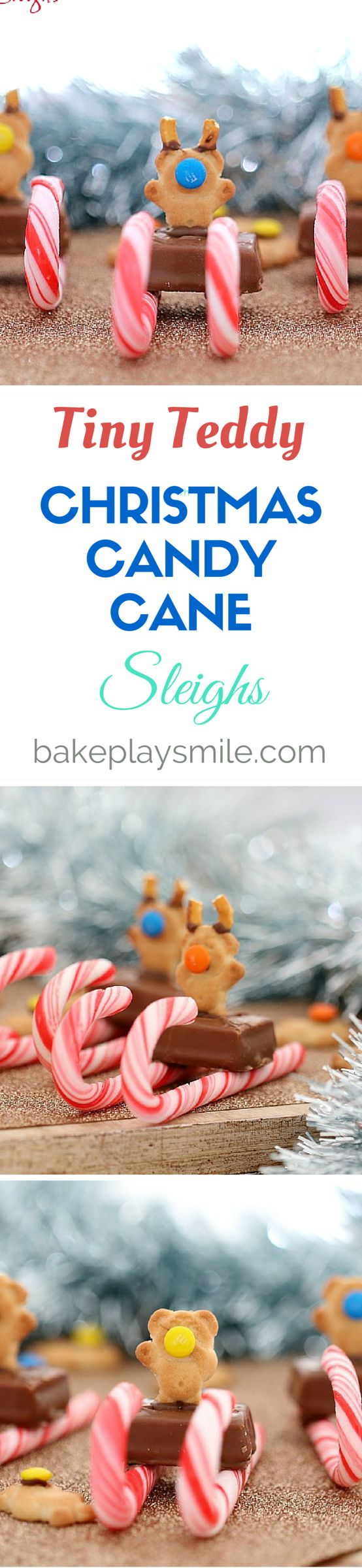 Tiny Teddy Christmas Candy Cane Sleighs are the perfect treat for a Christmas party or sweet little DIY food gifts. Who could resist something so cute! #christmas #kids #nobake #easy #party #food #candy #canes