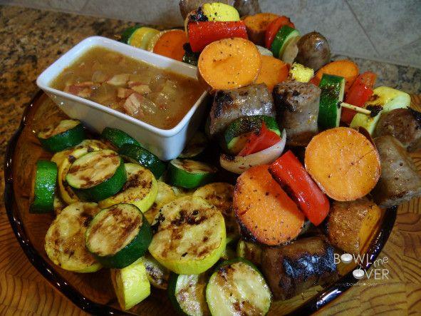 Sausage Kabobs with Bacon Onion Sauce - Bowl Me OverBowl Me Over