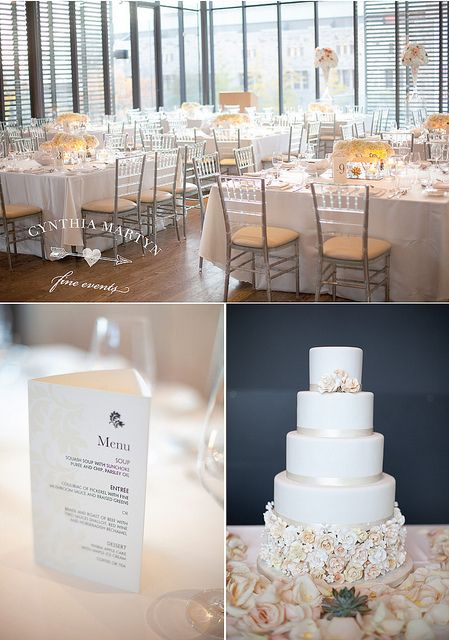 Beautiful white, black and peach wedding. I created the menu/table number/donation tri-folds for this gorgeous wedding!