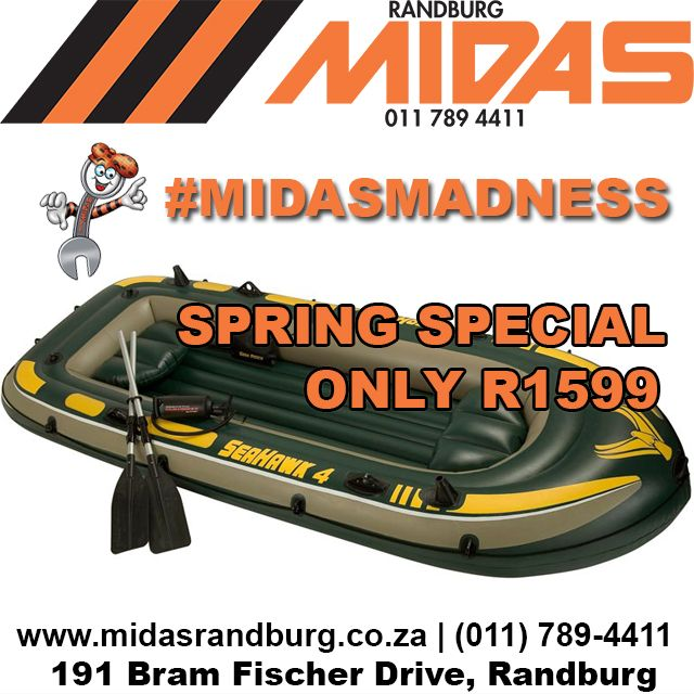 MIDAS SPRING SPECIAL: Inflatable Seahawk 4 fishing and fun boat R1,599 #MidasMadness http://bit.ly/1LrFst6
