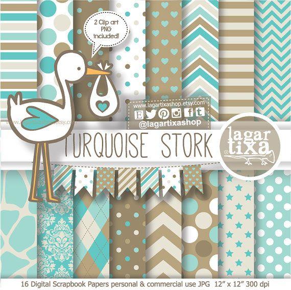 Digital Paper and Baby Shower Clip art gender reveal Turquoise Stork Banner Bunting Brown Beige Neutrals Chevron Argyle Polka dots